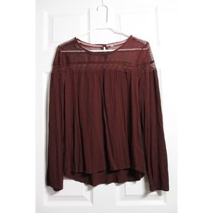 Tops - Long Sleeve Burgundy Top with Lace Accents